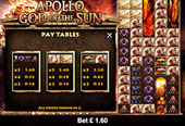 paytable vlt Apollo God of the Sun