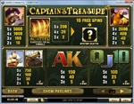 tabella pagamenti slot captain's treasure