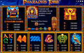 paytable slot pharaoh's tomb